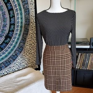 Ann Taylor Petites Plaid Wool Skirt